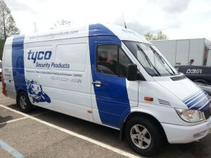 One of the new Tyco vans designed to showcase new security technologies