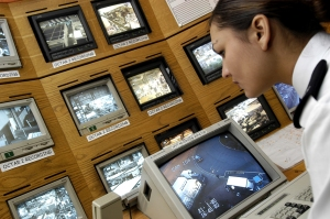 CCTV operators on duty in a typical Control Room environment