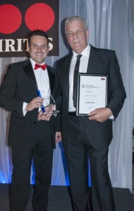 Darren Read of Securitas (left) presents the award on behalf of sponsor GAP to David Foster