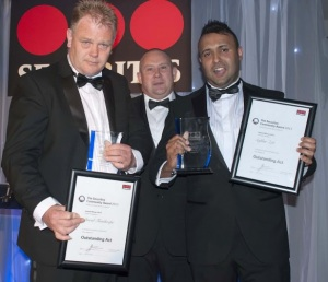Left to Right: David Fanthorpe, Clint Reid of sponsor Marks & Spencer and Safdar Zeb