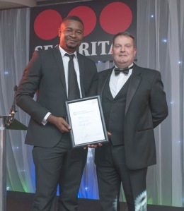 Frank Yaba collects his Highly Commended certificate