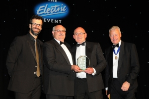 Left to Right: Marcus Brigstocke, Pat Allen (FSA chairman), Raymond Clarke and Phil Fagg (president of the ECA)