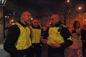 Geoff Zeidler on patrol in Manchester with Securitas officers Mo and Mario