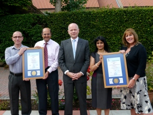Foreign secretary and local MP William Hague presents the certificates of compliance