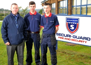 Left to Right: Securi-Guard's Paul Lawson with new apprentices Liam Hewins and Kieran Pope