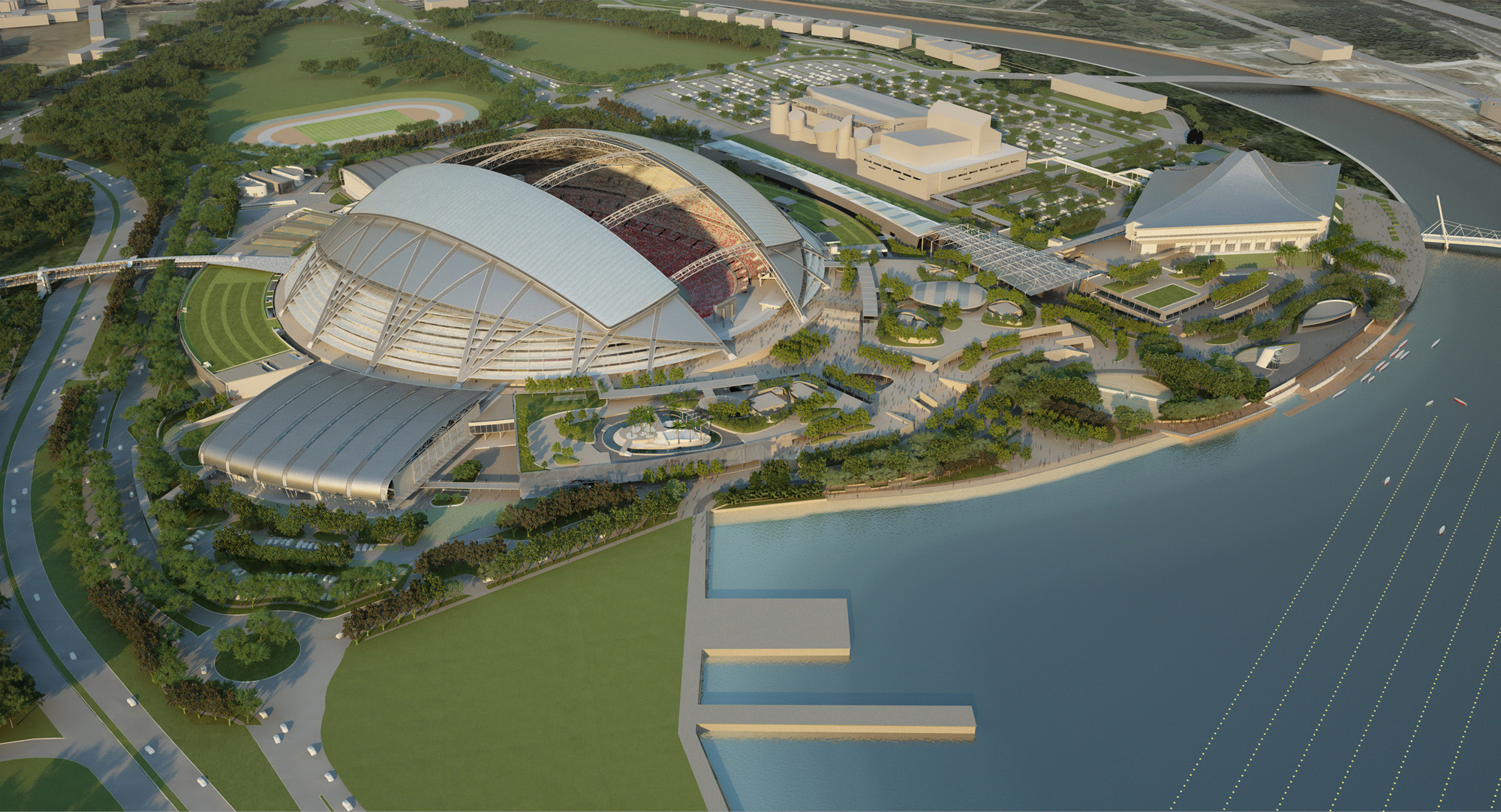 Singapore Sports Hub: the daytime view (Image by Oaker)