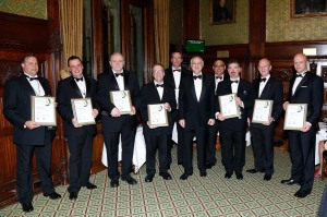 New Chartered Security Professionals (Left to Right): Grahame Bullock, Simon Whitehouse, Denis Fischbacher-Smith, Peter Whettingsteel, Robb Cumming, Lord Alex Carlile (President of The Security Institute), Simon Pears, Simon Roberts, Peter Kaye and Stephen Ackroyd
