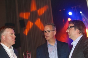 Nedap CEO Ruben Wegman (left) chats with colleagues at the ASIS European Security Conference Welcome Party