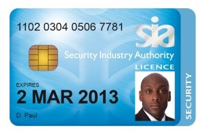 A typical SIA licence card