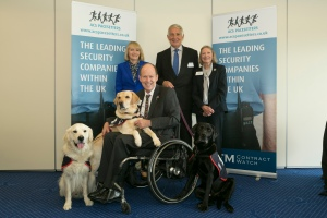 Left to Right: Anne Wheeley and Allen Parton (Hounds for Heroes), Terry O'Neil and Lynda Moore (ACS Pacesetters)