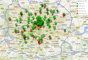 TSM Incidents By Site: London, May 2014