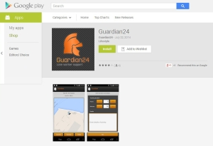 Guardian24's lone worker protection app on the Google Play store