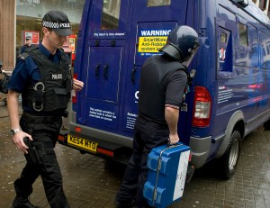 Couriers remain vulnerable to attack, particularly when carrying cash across the pavement from the secure vehicle to their client's premises