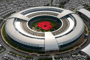 To launch this year's Royal British Legion Gloucestershire County Poppy Appeal, around 1,400 GCHQ staff - both civilian and military - worked together to create a giant poppy in the centre of the iconic GCHQ building in Cheltenham