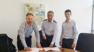 The deal is signed at EyeLynx's Chessington office by (from left to right) Alastair Henman, Jay Patel and Francisco Feijoo