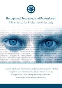 The Front Cover of the new 'Manifesto for Professional Security'
