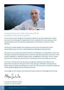 The Foreword is written by Lord Carlile of Berriew, The Security Institute's president