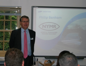 Philip Benham of the North Yorkshire Moors Railway delivering his historical presentation to delegates
