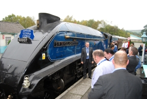 The Sir Nigel Gresley locomotive on which guests at the seminar were able to travel