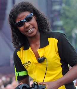 Showsec's Cherice Wallen on duty at this summer's Kasabian gig in Victoria Park, Leicester