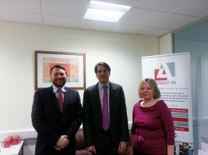 James Morris MP (centre) with Mike Gillespie and Julia McCarron