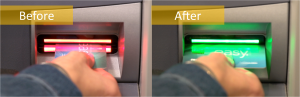 Diebold's ActivEdge solution requires the ATM user to place their card into the reader using the card's long side
