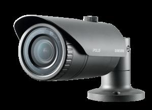 Samsung Techwin's SNO-L6083R 2 Megapixel Full-HD weatherproof network IR bullet camera complete with varifocal lens
