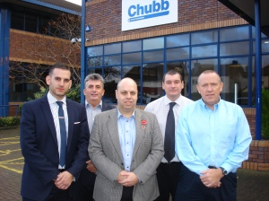 Chubb Fire & Security UK's Environment, Health and Safety Team. From Left to Right: Paul Cosentino, Bob Tormay, Mark Redding, Adrian Garbett and Steve Jolliffe