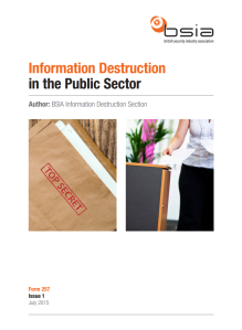 The BSIA's Guide to Information Destruction in the Public Sector