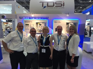 Sarah Phillips (centre) with Team TDSi at London's ExCeL